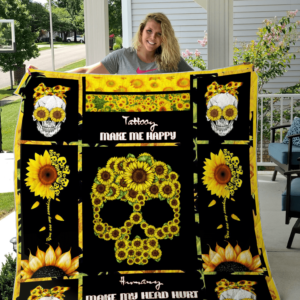 Sunflower Skull Quilt Blanket