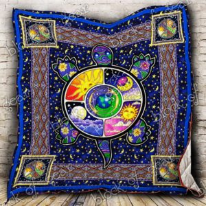 Hippie Turtle Moon And Sun Quilt Blanket Great Customized Blanket Gifts For Birthday Christmas Thanksgiving