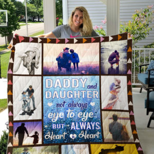 Dad And Daughter Not Always Eye To Eye But Always Heart To Heart Quilt Blanket Great Customized Blanket Gifts For Birthday Christmas Thanksgiving