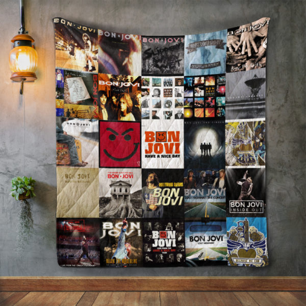 Bon Jovi Album Covers Quilt Blanket