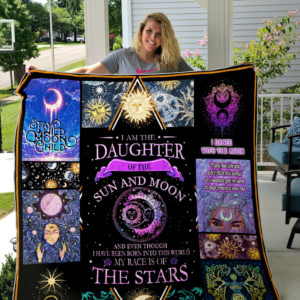 Daughter Of Sun And Moon Love By The Moon Quilt Blanket Great Customized Gifts For Birthday Christmas Thanksgiving Perfect Gifts For Sun And Moon Lover