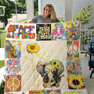 Hippie Elephant You Are My Sunshine Quilt Blanket Great Customized Gifts For Birthday Christmas Thanksgiving Perfect Gifts For Hippie