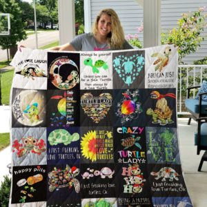 I Just Freaking Love Turtles Quilt Blanket Great Customized Blanket Gifts For Birthday Christmas Thanksgiving