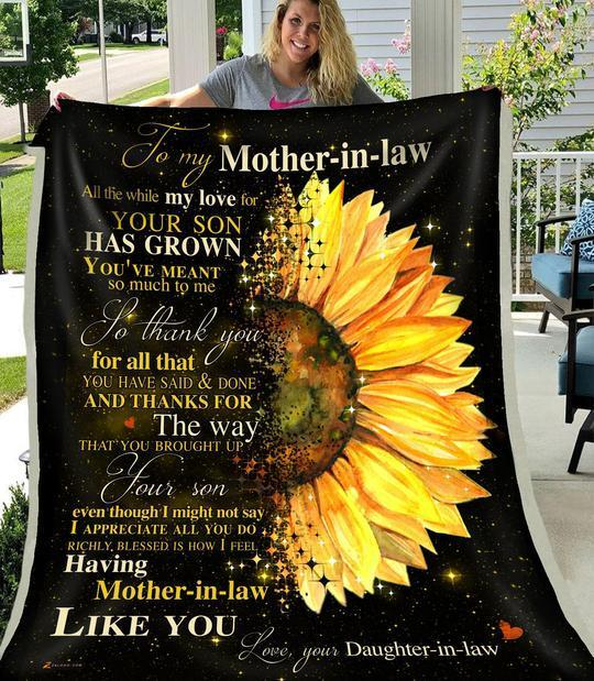 Personalized Sunflower Family To My Mother-In-Law Quilt Blanket From Daughter-In-Law Thank You For All That You Have Said And Done Great Customized Blanket Gifts For Birthday Christmas Thanksgiving Mother's Day