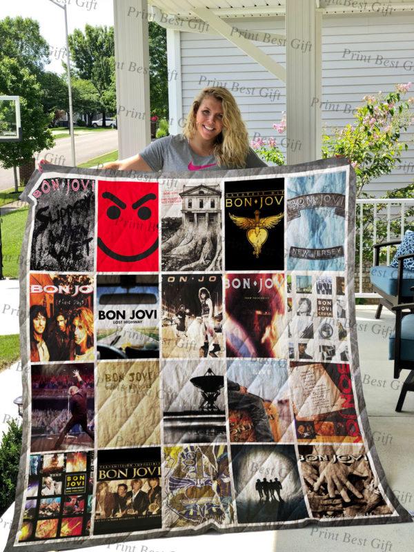 Bon Jovi Albums Cover Poster Quilt Blanket Ver 4