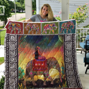 A Girl Riding Elephant Quilt Blanket Great Customized Gifts For Birthday Christmas Thanksgiving Perfect Gifts For Elephant Lover