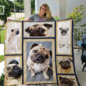 Cute Pug Dog Quilt Blanket Great Customized Blanket Gifts For Birthday Christmas Thanksgiving