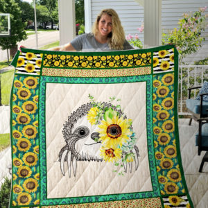 Sloth Sunflower Quilt Blanket Great Customized Gifts For Birthday Christmas Thanksgiving Perfect Gifts For Sunflower Lover