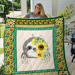 Sloth Sunflower Quilt Blanket 01
