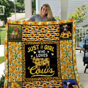 Just A Girl Who Loves Cows Quilt Blanket Great Customized Blanket Gifts For Birthday Christmas Thanksgiving