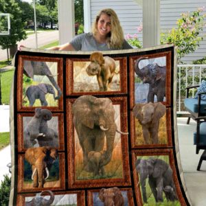 Elephant Family Baby And Mom Quilt Blanket Great Customized Gifts For Birthday Christmas Thanksgiving Perfect Gifts For Elephant Lover