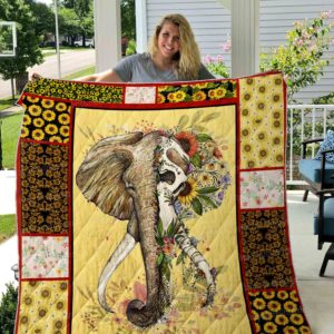 Elephant Flower Skull Quilt Blanket Great Customized Gifts For Birthday Christmas Thanksgiving Perfect Gifts For Elephant Lover