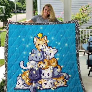 Cat Meowy Christmas Quilt Blanket Great Customized Gifts For Birthday Christmas Thanksgiving Perfect Gifts For Cat Lover