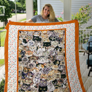 Cat Colorful Dots Quilt Blanket Great Customized Gifts For Birthday Christmas Thanksgiving Perfect Gifts For Cat Lover