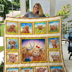 Highland Cows Cute Love Quilt Blanket Great Customized Blanket Gifts For Birthday Christmas Thanksgiving