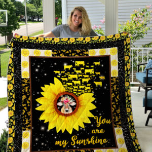 Cow Sunflower You Are My Sunshine Quilt Blanket Great Customized Blanket Gifts For Birthday Christmas Thanksgiving