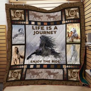 Horse Racing Theme Life Is A Journey, Enjoy The Ride Quilt Blanket Great Customized Blanket Gifts For Birthday Christmas Thanksgiving
