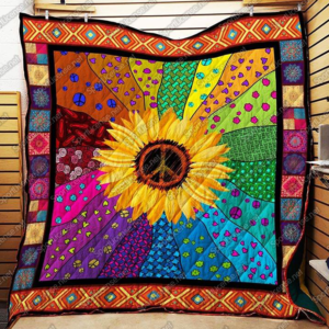 Sunflower Hippie Colorful Quilt Blanket Great Customized Gifts For Birthday Christmas Thanksgiving Perfect Gifts For Sunflower Lover