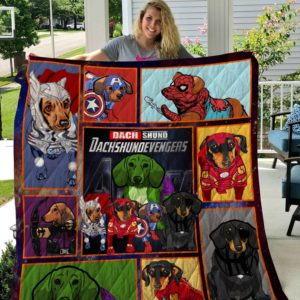Dachshund Avengers Quilt Blanket Great Customized Blanket Gifts For Birthday Christmas Thanksgiving