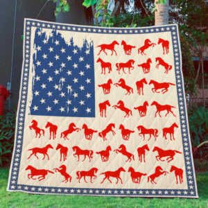 Flag Usa Horse Quilt Blanket Great Customized Blanket Gifts For Birthday Christmas Thanksgiving