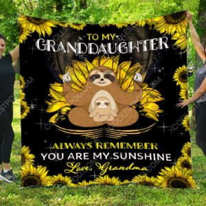 To My Granddaughter – Sloth Quilt Blanket