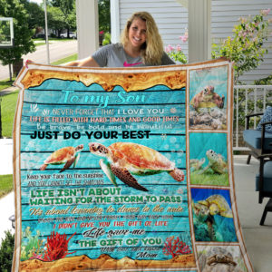 Personalized Turtle To My Son Quilt Blanket From Mom Never Forget That I Love You Great Customized Blanket Gifts For Birthday Christmas Thanksgiving