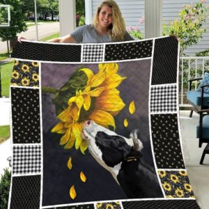 Cows And Sunflowers Pattern Quilt Blanket Great Customized Gifts For Birthday Christmas Thanksgiving Perfect Gifts For Sunflower Lover