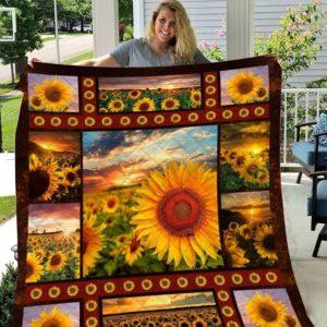 Sunset Sunflowers Quilt Blanket