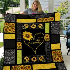 Sunflower – Jesus It's Not Religion It's A Relationship Quilt Blanket