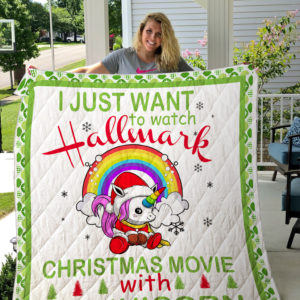 Hallmark Christmas Movies With My Unicorn Quilt Blanket Great Customized Gifts For Birthday Christmas Thanksgiving Perfect Gifts For Unicorn Lover