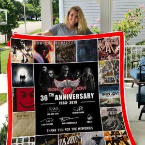 Bon Jovi 36 Years Anniversary Quilt Blanket