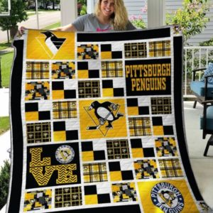Pittsburgh Penguins Play Ice Hockey On The Field Quilt Blanket Great Customized Blanket Gifts For Birthday Christmas Thanksgiving