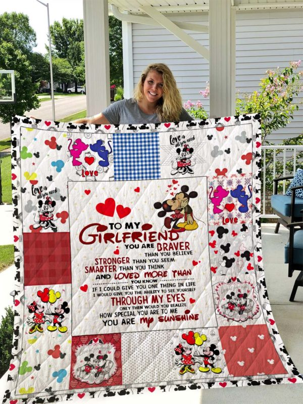 Personalize Mickey Mouse To My Girlfriend From Boyfriend You Are Draver Quilt Blanket Great Customized Gifts For Birthday Christmas Thanksgiving Perfect Gifts For Mickey Mouse Lover