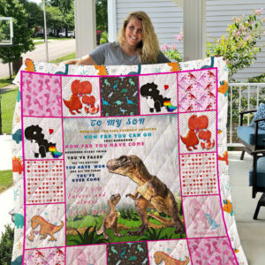 Personalized Dinosaur To My Son From Mom How Far You Can Go Quilt Blanket Great Customized Gifts For Birthday Christmas Thanksgiving Perfect Gifts For Dinosaur Lover