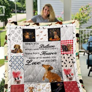 Dachshunds Signs From Heaven Show Up To Remind You Love Never Dies Quilt Blanket Great Customized Blanket Gifts For Birthday Christmas Thanksgiving