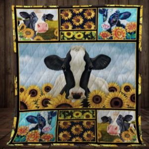 Cow In The Town Quilt Blanket