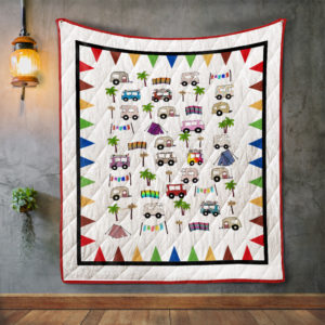 Cute Camping Car Quilt Blanket Great Customized Blanket Gifts For Birthday Christmas Thanksgiving