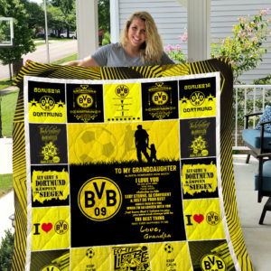 Personalized Borussia Dortmund To My Granddaughter From Grandpa You Will Face Many Obstacles Quilt Blanket Great Customized Gifts For Birthday Christmas Thanksgiving Perfect Gifts For Soccer Lover