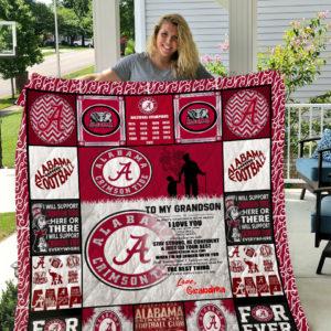 Alabama Crimson Tide – To My Grandson – Love Grandmom Quilt Blanket