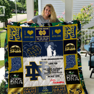 Notre Dame Fighting Irish – To My Granddaughter – Love Grandmom Quilt Blanket