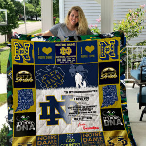 Personalized Notre Dame Fighting Irish To My Granddaughter From Grandpa And There's A Magic In The Sound Of Their Name Quilt Blanket Great Customized Gifts For Birthday Christmas Thanksgiving Perfect Gifts For American Football Lover