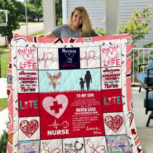 Personalized Nurse Mom To My Son Quilt Blanket From Mom Love You For The Rest Of Mine  Great Customized Blanket Gifts For Birthday Christmas Thanksgiving
