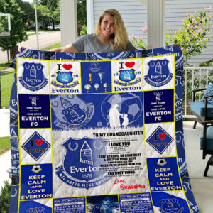 Personalized Everton F.C To My Granddaughter From Grandma We Don't Care What The Red Side Say Quilt Blanket Great Customized Gifts For Birthday Christmas Thanksgiving Perfect Gifts For Everton Lover