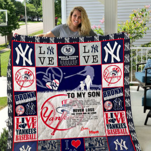 New York Yankees – To My Son – Love Mom Quilt Blanket