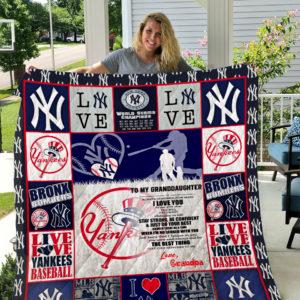 New York Yankees – To My Granddaughter – Love Grandpa Quilt Blanket