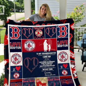 Personalized Boston Red Sox To My Granddaughter From Grandmom When I'm No Longer With You Quilt Blanket Great Customized Gifts For Birthday Christmas Thanksgiving Perfect Gifts For Baseball Lover