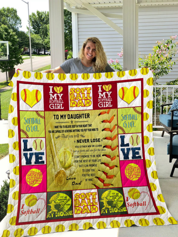 Softball – To My Daughter – Love Dad Quilt Blanket