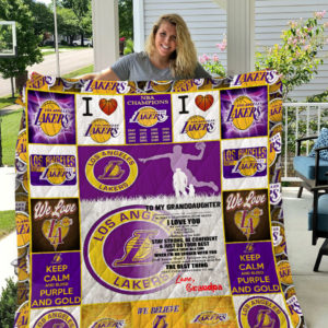 Personalized Los Angeles Lakers To My Granddaughter From Grandpa Keep Calm And Bleed Purple And Gold Quilt Blanket Great Customized Gifts For Birthday Christmas Thanksgiving Perfect Gifts For Basketball Lover