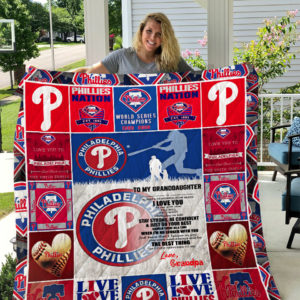 Personalized Philadelphia Phillies To My Granddaughter From Grandpa When I'm No Longer With You Quilt Blanket Great Customized Gifts For Birthday Christmas Thanksgiving Perfect Gifts For Baseball Lover
