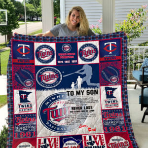Minnesota Twins – To My Son – Love Dad Quilt Blanket